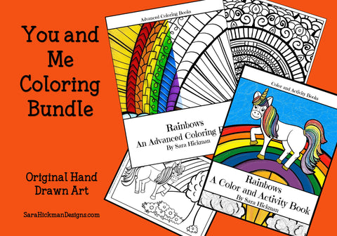 You and Me Rainbow Bundle by Sara Hickman Designs. An advanced coloring book for you with a coordinating coloring book for the little person that colors with you.
