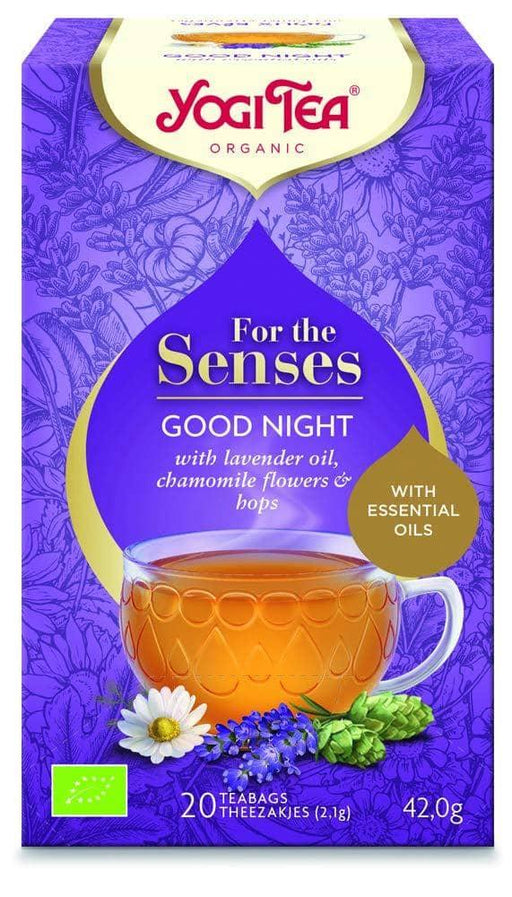 YOGI Tea For The Senses ~ Good Night Urtete m. Lavendelolie - 100% Vegansk, Glutenfri, Økologisk, 20 poser, 42g - GreenOS.dk
