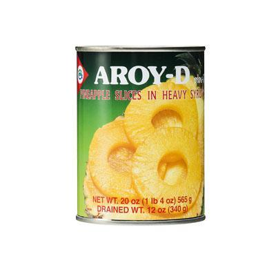 Aroy-D Pineapple Slices in Heavy Syrup - Ananas Skiver i Sirup - 565 g. - GreenOS.dk