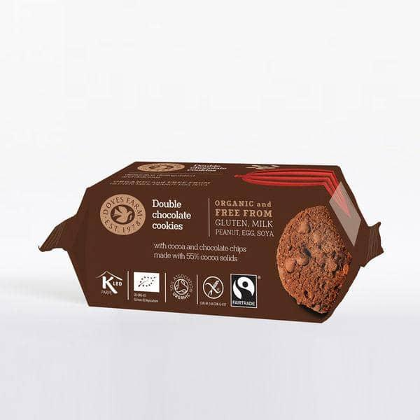Doves Farm Double Chocolate Cookies, 180 g. (bedst før 11/8-2019) - GreenOS.dk