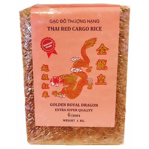 Golden Royal Dragon Thai Red Cargo Rice - Røde Ris - 1kg - GreenOS.dk