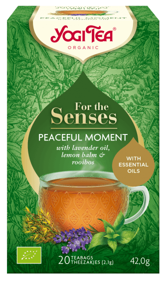 YOGI Tea For The Senses ~ Peaceful Moment Urtete m. Lavendelolie & Citronmelisse - 100% Vegansk, Glutenfri, Økologisk, 20 poser, 42g - GreenOS.dk
