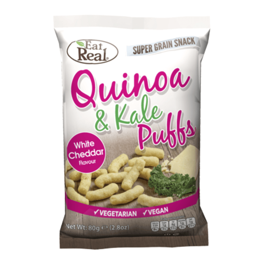 Eat Real Quinoa & Kale White Cheddar Puffs, 113 g. - GreenOS.dk