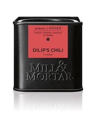 Mill & Mortar,  Dilip's Chili i flager, øko, 45 g