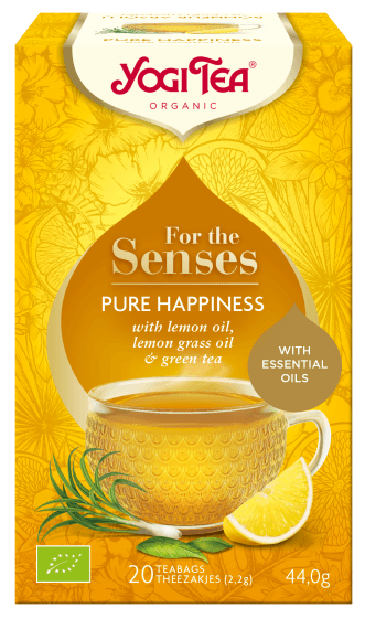 YOGI Tea For The Senses ~ Pure Happiness Grøn Te Citron - 100% Vegansk, Glutenfri, Økologisk, 20 poser, 44g - GreenOS.dk