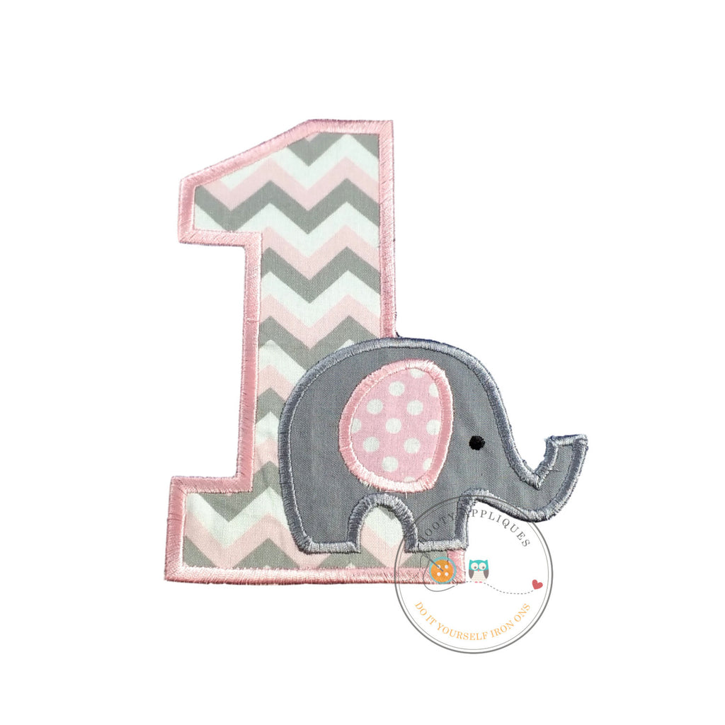 Baby elephant first birthday iron on applique