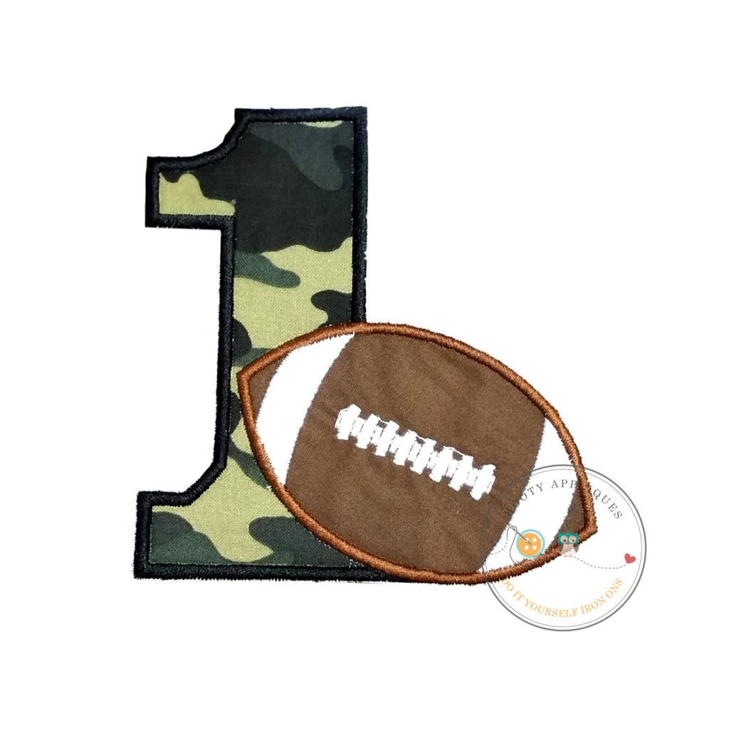 Camo football birthday number 1 iron on applique