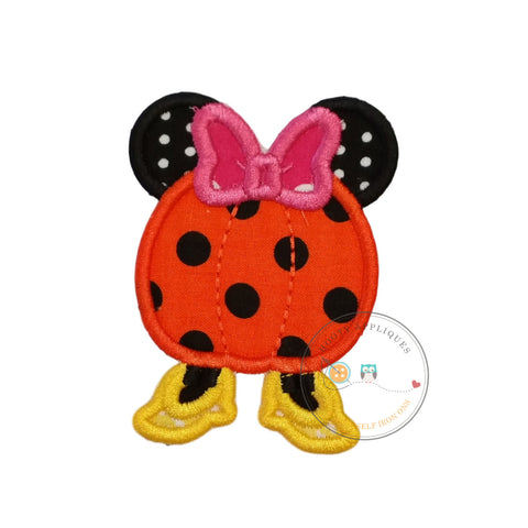 Small  4x4 Girl pumpkin with mouse ears Halloween fabric iron on applique