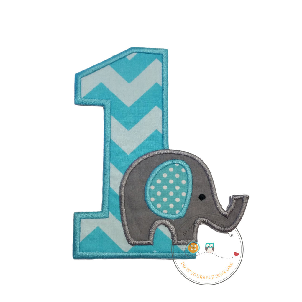 Baby elephant first birthday iron on applique number