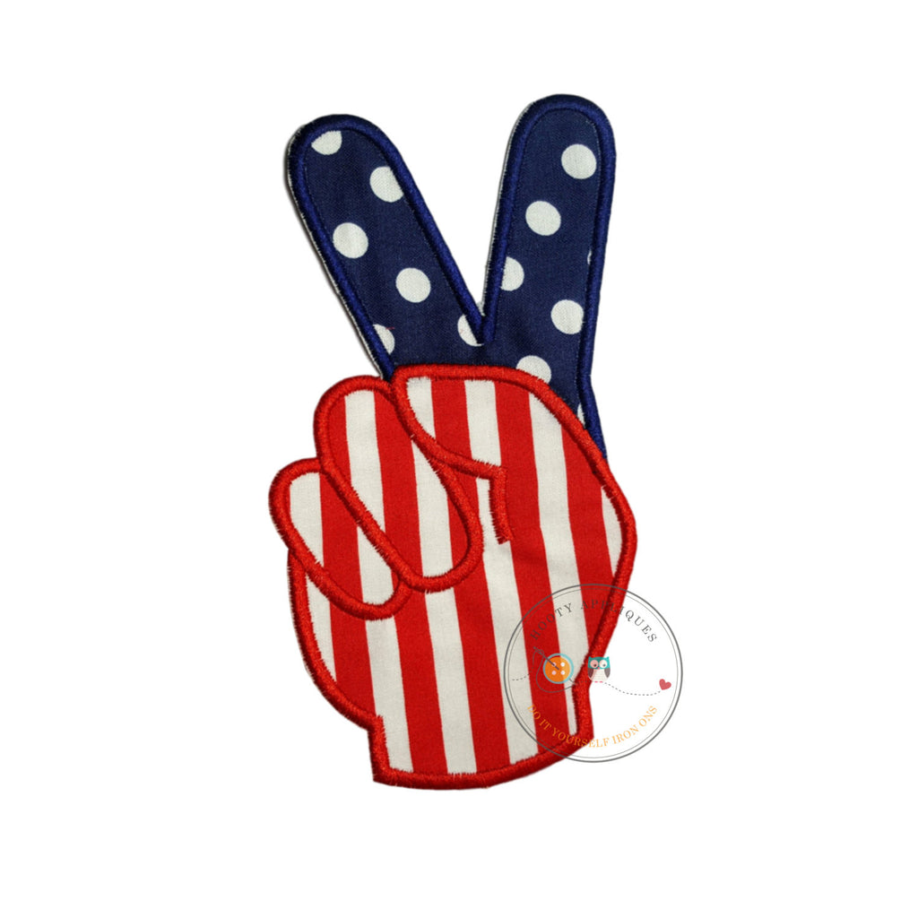 American flag peace sign fingers iron-on applique