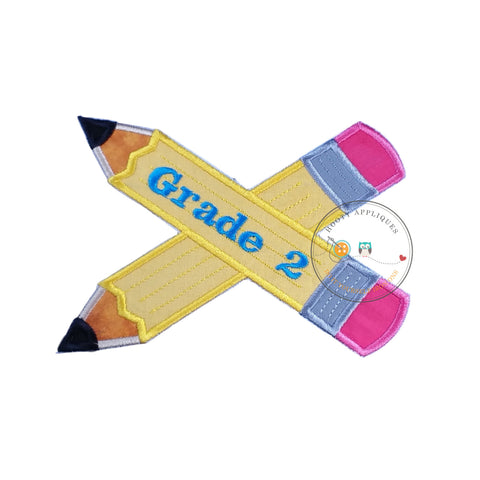 Large 2nd grade pencils- back to school - Iron on patch