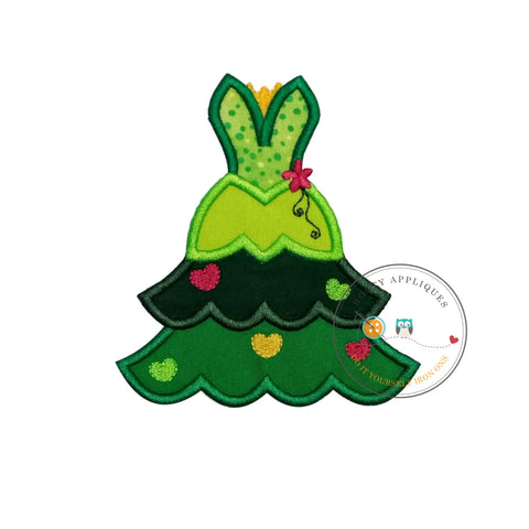 Frog princess iron on Christmas tree fabric applique