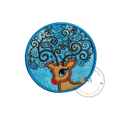 Circle red nose reindeer iron on fabric applique, Machine embroidered iron on