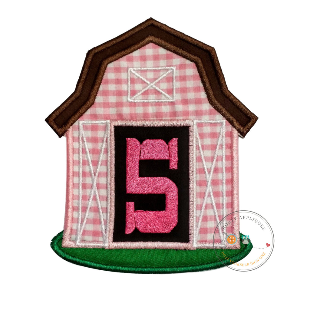 Pink barn birthday number five iron on applique