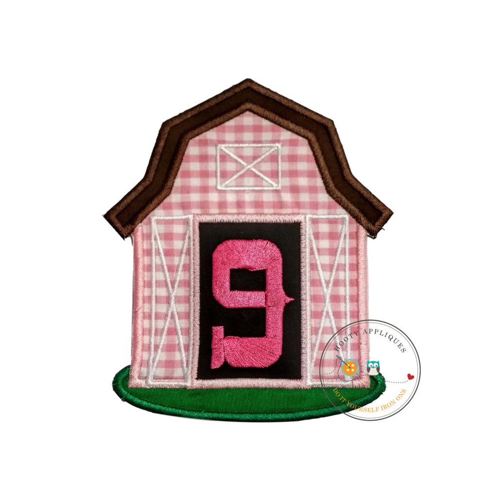 Pink barn birthday number nine iron on applique