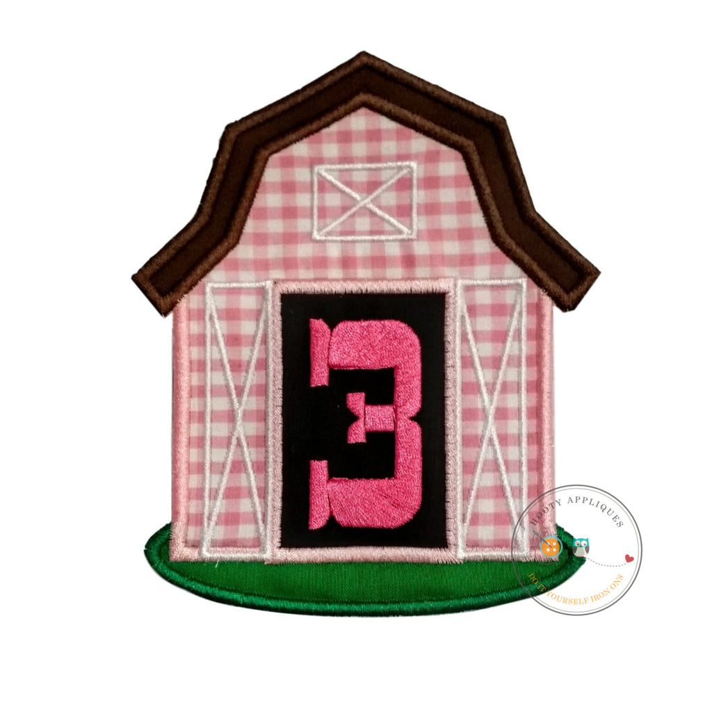 Pink barn birthday number three iron on applique