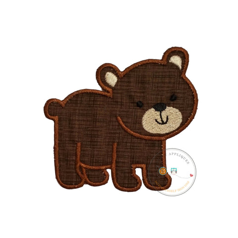 Baby brown bear iron on applique
