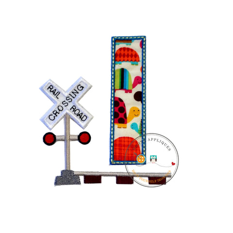 Railroad crossing blue trimmed birthday number one iron on applique