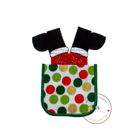 Faux Christmas pocket embroidered iron on applique