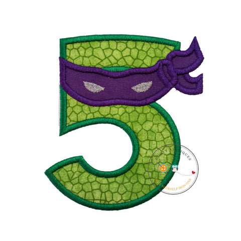 Turtle ninja number 5 with purple  mask  - iron embroidered fabric applique patch embellishment- ready to ship