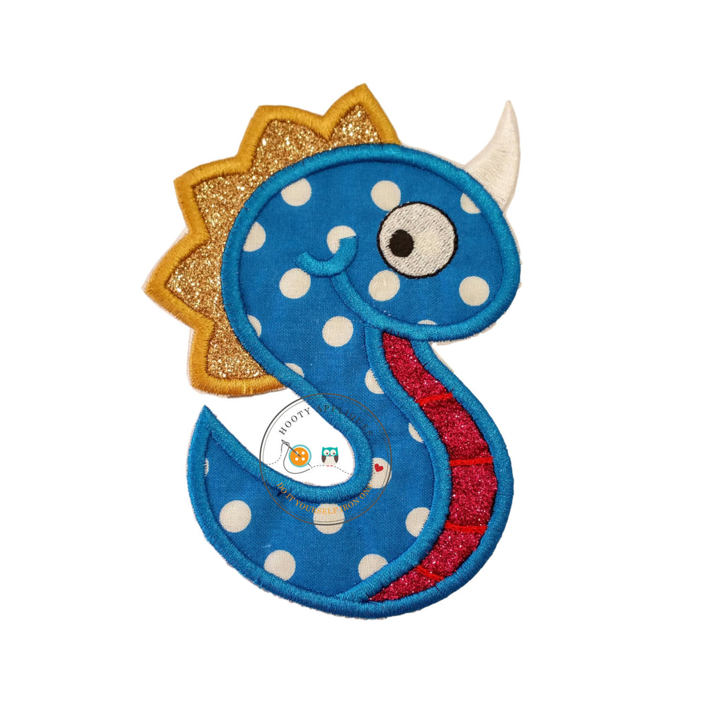 Monster letter S applique, initial embroidered patch