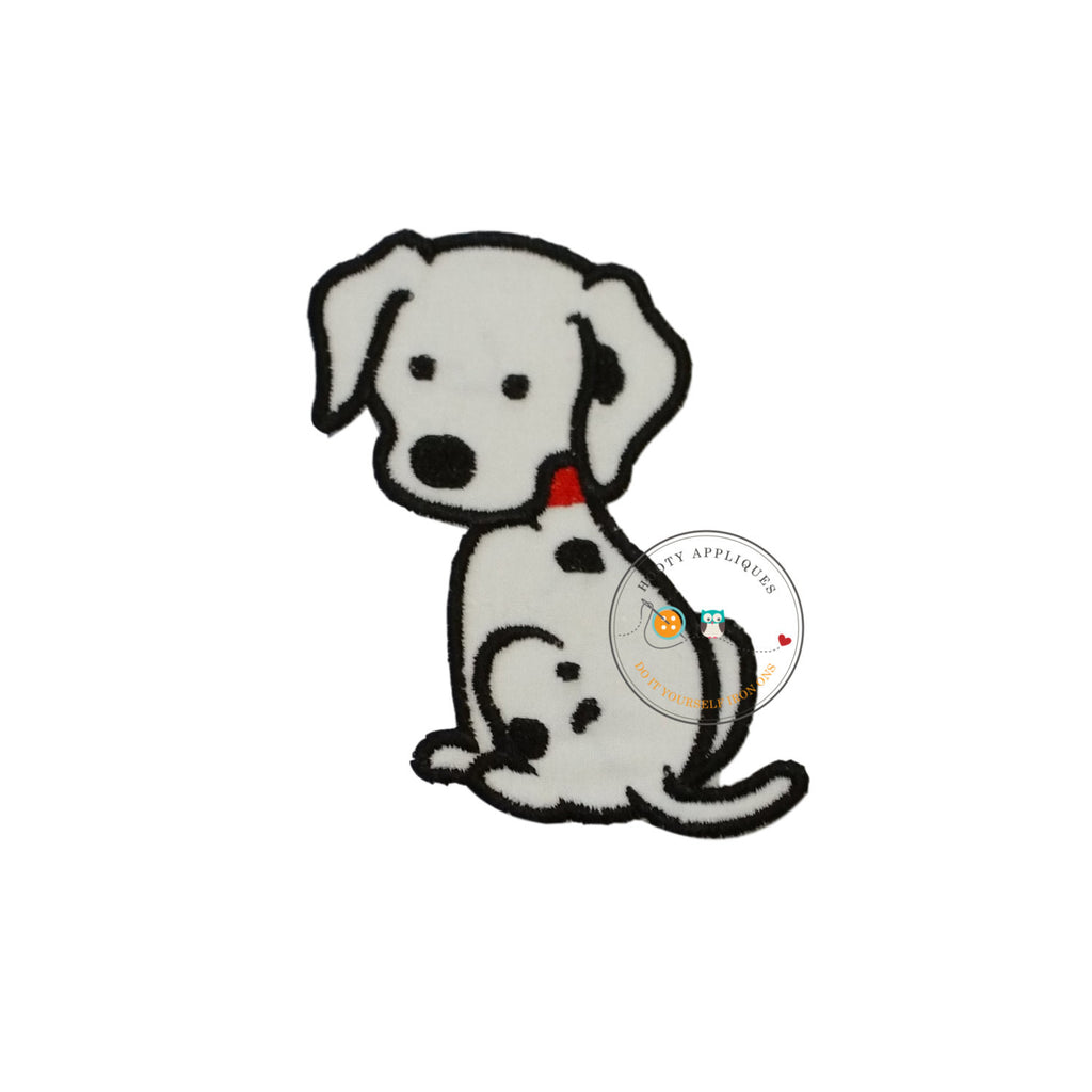 Small Dalmatian puppy - iron embroidered fabric applique