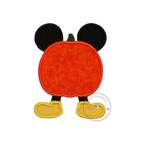 Mouse stuck in pumpkin Halloween fabric iron on applique