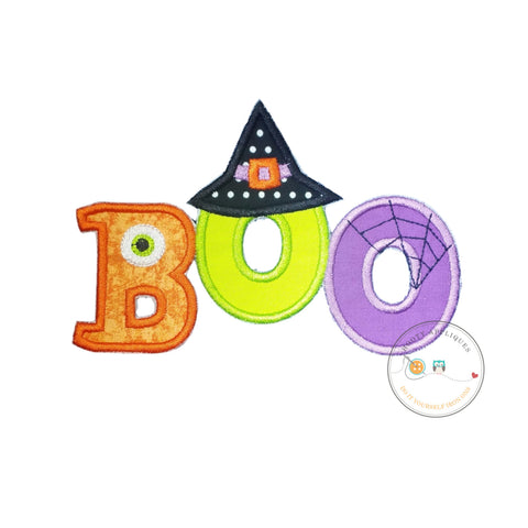 Boo halloween text emoridered fabric iron on applique