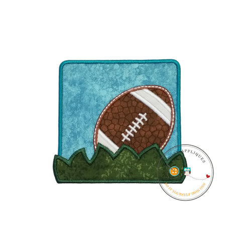 Football in the grass blue square iron on applique for boys and girls