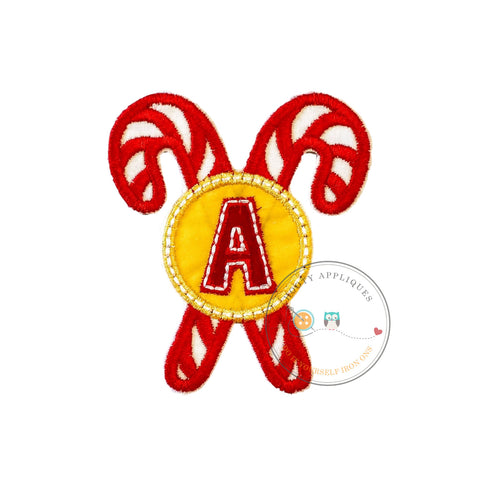 Christmas candie cane initial letter A - iron embroidered fabric applique