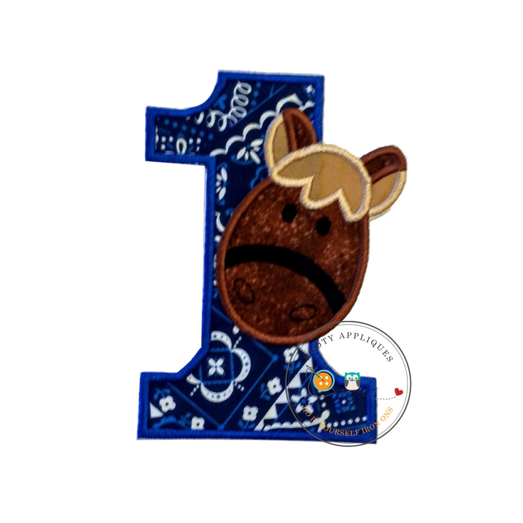 Royal blu bandanna with boy horse iron on birthday number one