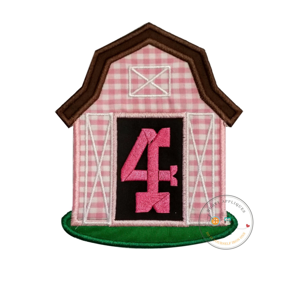 Pink barn birthday number four iron on applique