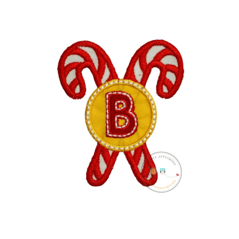Christmas candie cane initial B - iron embroidered fabric applique