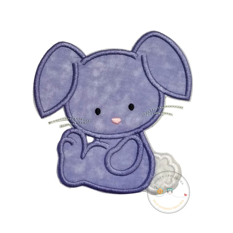 Cotton tail bunny iron on patch, Purple bunny applique