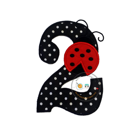 Red lady bug birthday number 2 iron on applique