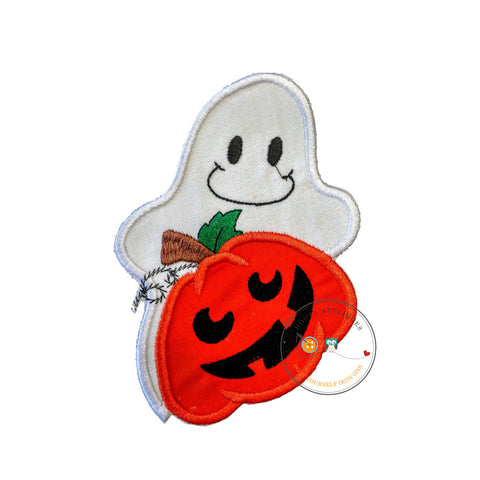 Large hallowee ghost with pumpkin - iron on patch