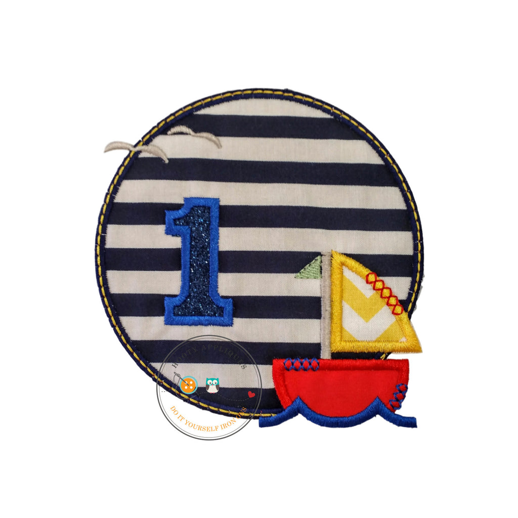 Sailboat circle birthday number 1, embroidery nautical glitter number 1