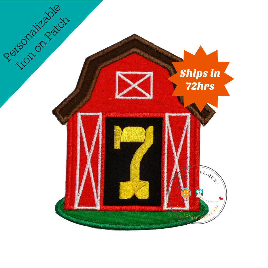Big, red barn iron on applique with large, birthday number 7 (seven)