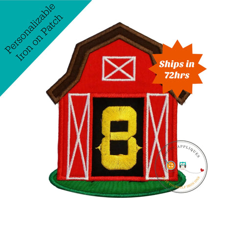 Big, red barn iron-on applique with yellow, birthday number 8
