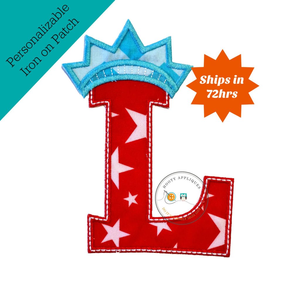Star spangle inital letter L iron on applique, Patriotic monogram embroidered patch