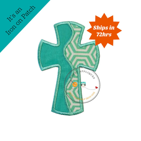 Half and half teal cross - iron embroidered fabric applique patch embellishment- ready to ship