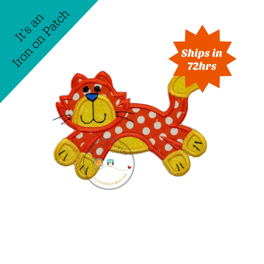 Orange and white polka-dot  kitty. Iron embroidered fabric applique