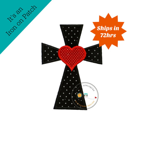 Cross with heart in black and white Chevron fabric - iron embroidered fabric applique patch