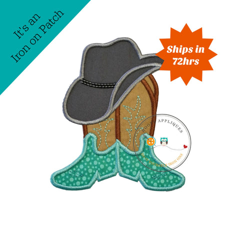 Cowboy hat with brown and tan boots- western fabric applique