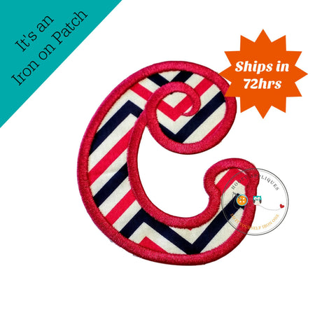 Chunky curls letter C iron on applique, Girls nautical monogram, iron on