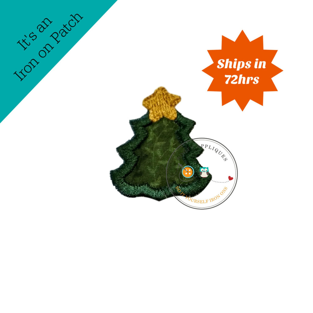 tiny Christmas tree, mini tree, small, holiday, iron on applique