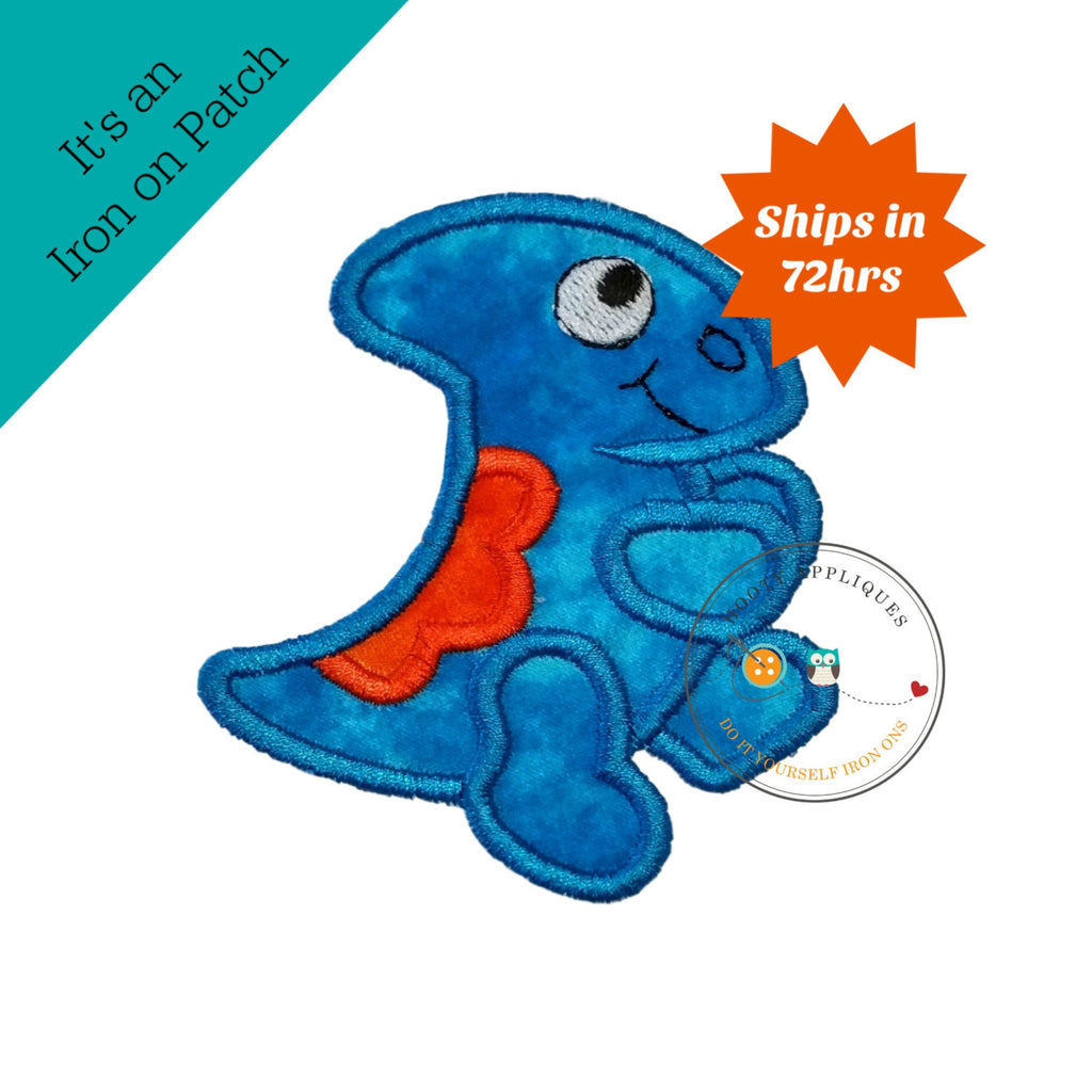 Modest bright blue and orange iron on dinosaur applique
