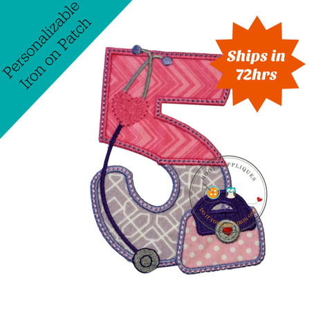 Girl doctor birthday number five- iron on fabric applique