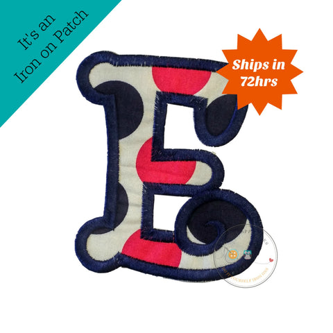 Chunky curls letter E iron on applique, Girls nautical monogram, iron on