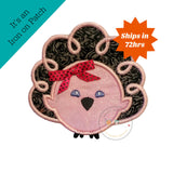 pink and gray Thanksgiving turkey iron on applique